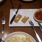 Fettuccine Alfredo, cheese ravioli and mozzarella sticks