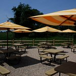 Our patio with beautiful views of the Long Island Sound.