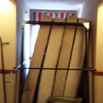 Mattresses and frames that blocked our room door when we tried to leave