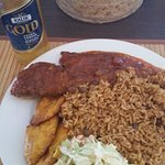 Day 2: Steamed fish with rice, plantain and coleslaw