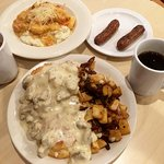 Sunday Brunch--shrimp & grils; biscuits & gravy with fried potatoes