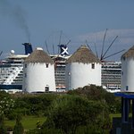 Looking over hotel grounds to windmills