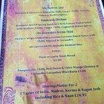 Tuesday curry night menu