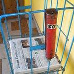 "Honor newspaper ""vending machine"" in the lobby."