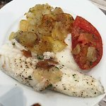 1/2 of an entree - Monkfish with roasted garlic, potatoes, and tomato