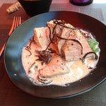 noix de veau cuit sous vide , à basse température ; avec poêlée de fenouil et artichauts