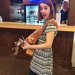 A young performer about to go on at the Blueburg Cafe, Cedarburg's Open Mic night.