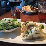 Chicken tacos with a side Caesar salad
