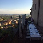 Dining on the castle terrace with a view of Tuscany!