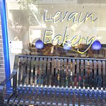 Levain Bakery front entrance, step down to the bakery