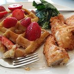 Chicken and Waffles...prettier with whipped cream!