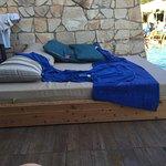 bed on swim up terrace