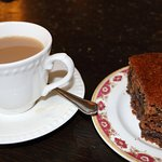 Sticky toffee cake and tea