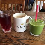 Cranberry juice, coffee with Baileys, green smoothie