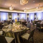 Ballroom set for a wedding