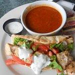Chicken Souvlaki on a pita with tomato potato soup.