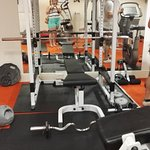 gym area, lots of different types of equipment.tidy and all in working order,