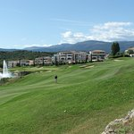 18th hole, par 5 with resorts in the background