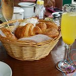 Mimosa and a basket of yummies