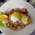 Poached eggs on salmon hash at Bistro by the Bijou.