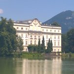 """View of the """"Von Trapp"""" mansion and lake that Maria and the children fell into."""
