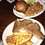 Bacon Cheese Burger & tots, Ruben with fries