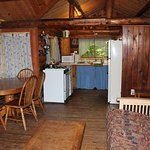 Living, dining, kitchen area of cabin