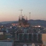 La Sagrada Familia from balcony at dusk.