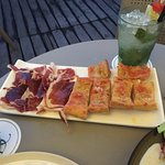 Spanish ham and delicious garlic/tomato toasts