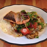 The Arctic Char special with snap peas, corn, red peppers & baby potatoes.