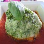 Rocket dumpling w/tomato sauce