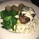 Filet Mignon with crab topping