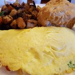 Lobster omelette, home fries, fruit, biscuit and strawberry butter - Yum!
