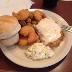 From the Buffet...chicken fried steak, fried shrimp, okra, cole slaw and roll.