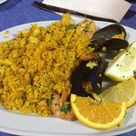 Paella from restaurant nearby