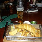 fish and chips + Hlf Adnams Dry Hopped Lager