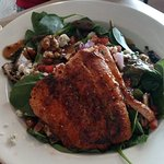 Shrimp (1/2 & 1/2) and Salmon salad entree.  Large portions.  Very fresh.  Great sauces.  Menu h