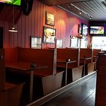 the wooden booths