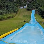 The Giant Slide and Zorbs at top of hill