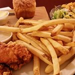Chicken tenders, fries, salad and home made bread for under $10.00