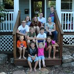 Cousins gathered on the front porch steps.
