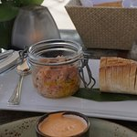 Salmon tartare with crostini appetizer