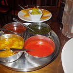The meal comes with nachos and five different kinds of salsa. Gaucamole, Chile, Mango, Mint and