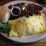 Western omelette with hasbrowns, biscuit and apple butter
