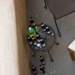 Proof on balcony below us where a group of people sat drinking loudly all night