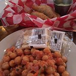 The chickpeas are delicious and a wonderful free appetizer. The beef empanadas were delicious