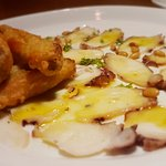 3 egpplante and octopus carpaccio