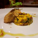 fried oyster , mango curry and salsa eggplant