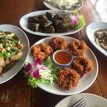 Shrimp cake, beef, pandan chicken and fish fillet