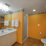 A 1-bedroom villa offers a stand up shower in the bathroom